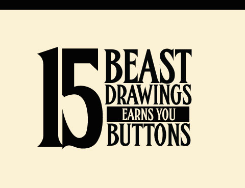 15 drawings Earns Buttons
