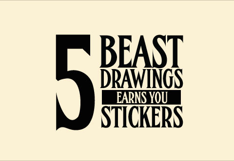 5 drawings Earns Stickers